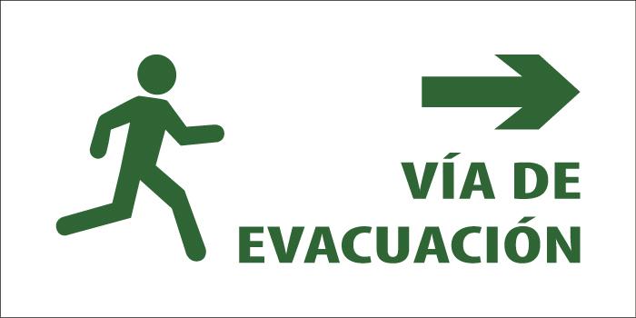 led senaletica via de evacuacion texto derecha