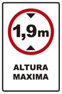 señaletica transito altura maxima 1,9