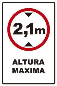señaletica transito altura maxima 2,1