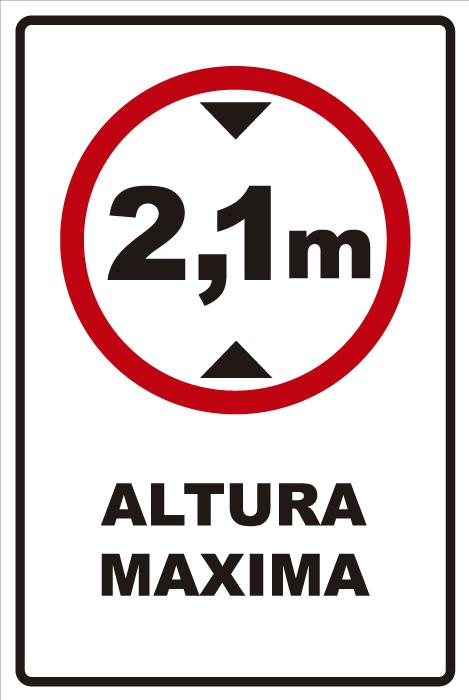señaletica transito altura maxima 2,1 1