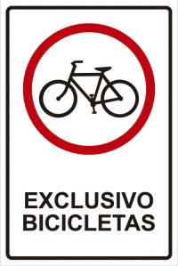 señaletica transito exclusivo bicicletas