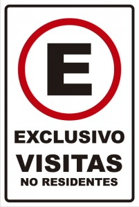 señaletica transito exclusivo visitas no residentes