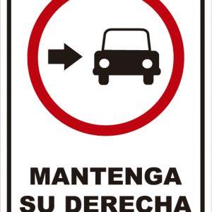 señaletica transito mantenga derecha