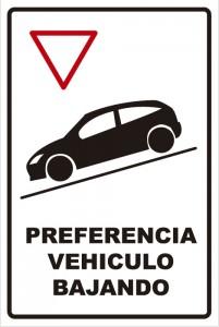 señaletica transito preferencia vehiculo bajando