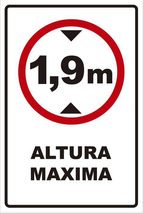 señaletica transito altura maxima 1,9 1